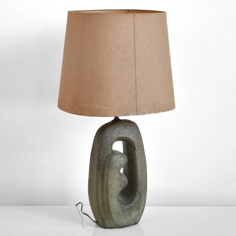 Mid-20th Century 1950s Table Lamp with Sculptural Base For Sale