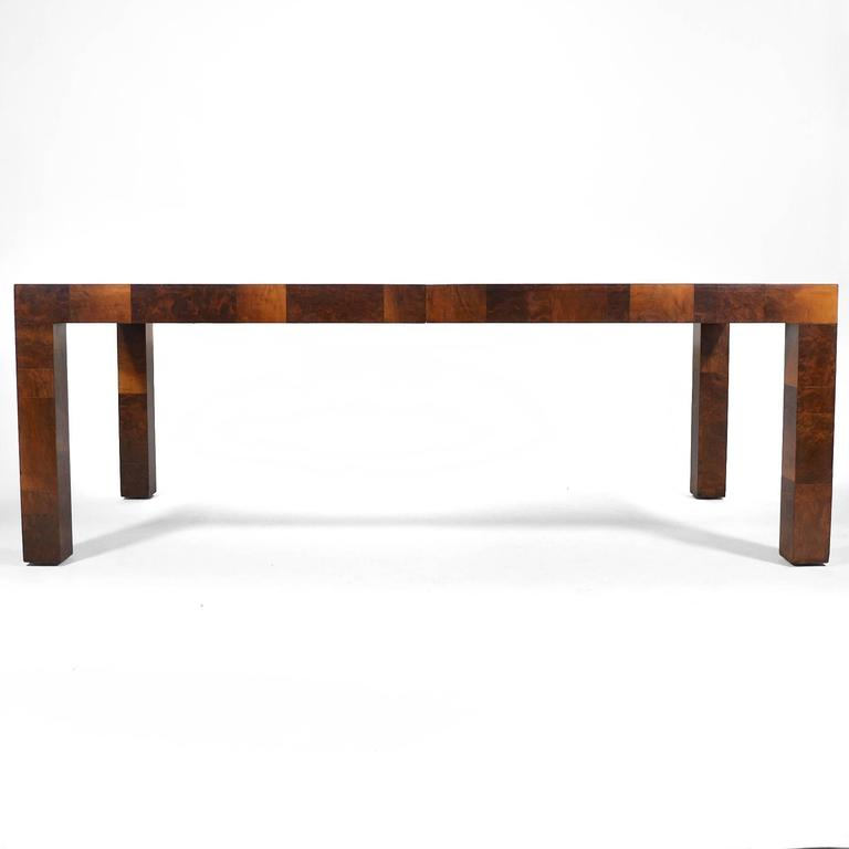 Mid-Century Modern Paul Evans Parsons Table in Burl Patchwork For Sale