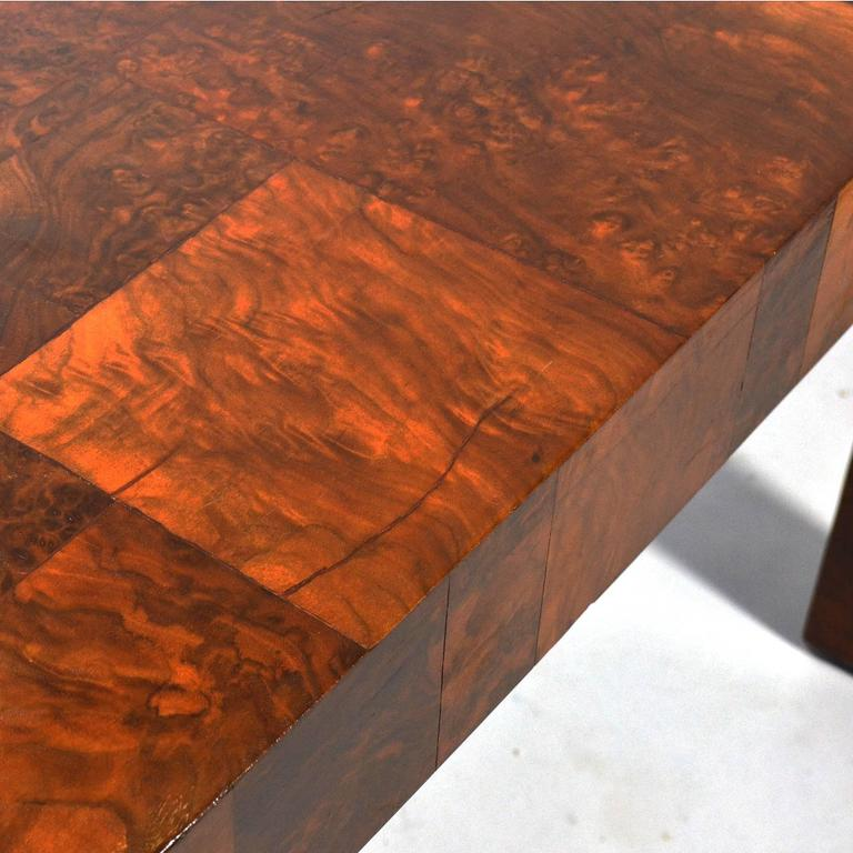 Paul Evans Parsons Table in Burl Patchwork In Good Condition For Sale In Highland, IN