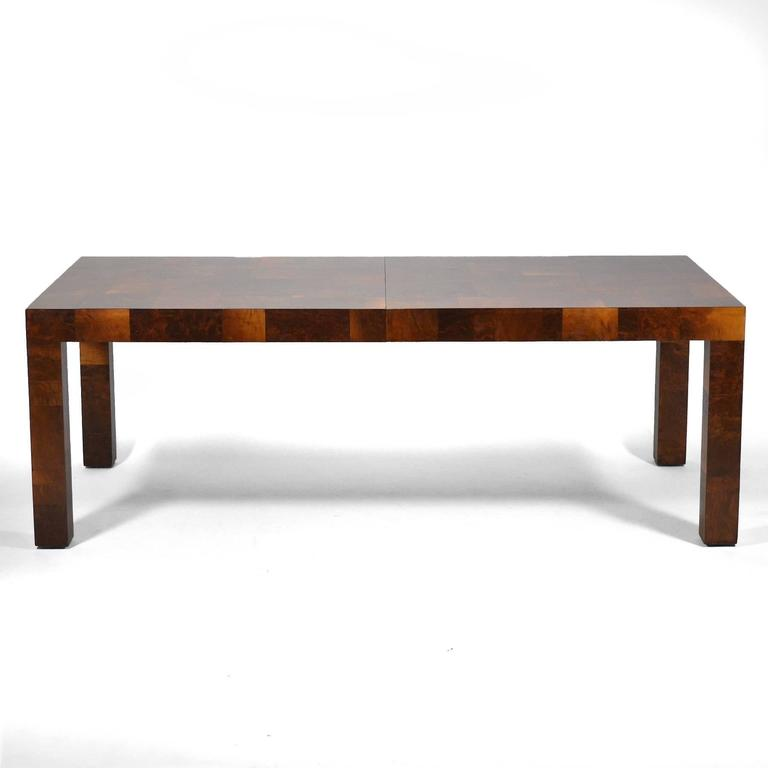 Walnut Paul Evans Parsons Table in Burl Patchwork For Sale