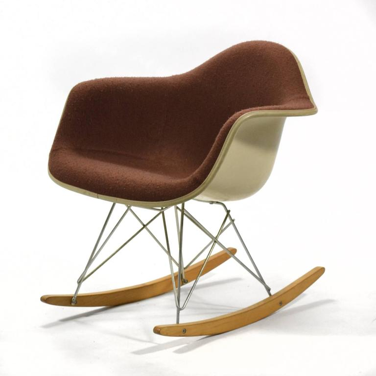 If an employee of Herman Miller were to have a child, they were given an Eames RAR rocking chair to commemorate the birth. It would be marked with a small placard commemorating the name and birthdate of the child. The beautiful example is one of