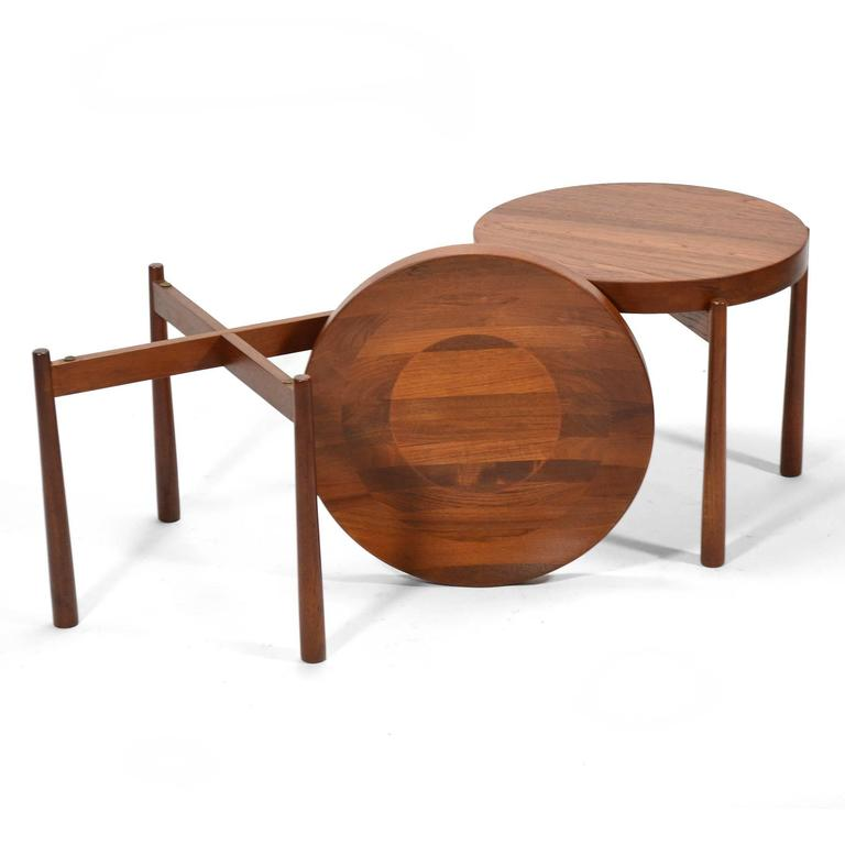 Mid-20th Century Swedish Solid Teak Flip-Top Tables in the Manner of Jens Quistgaard For Sale