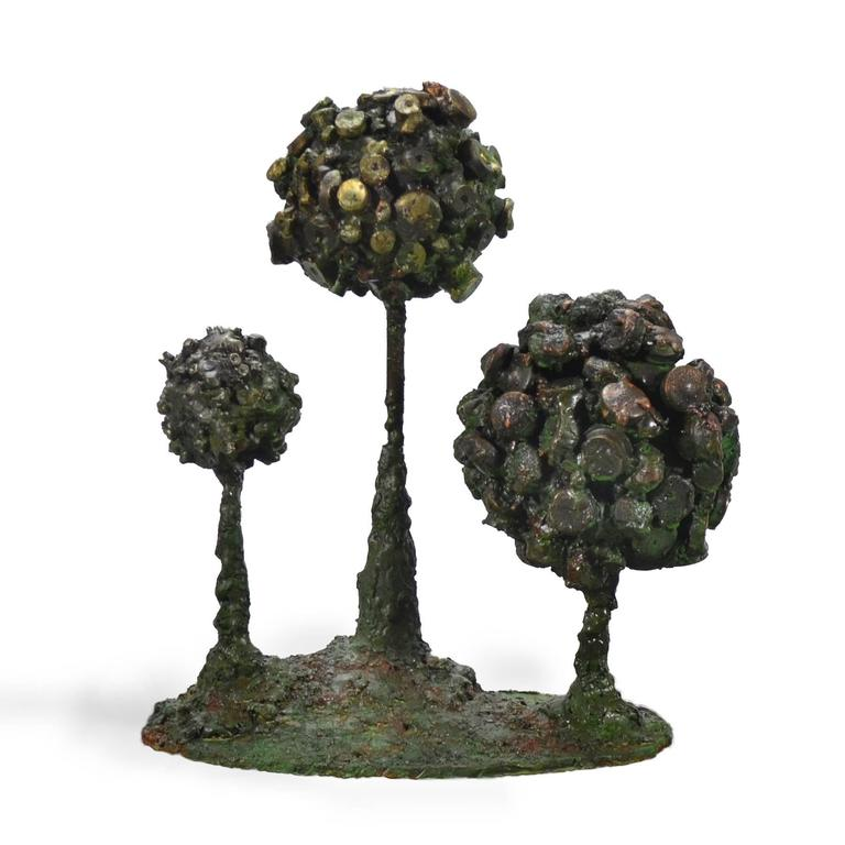 "This delightful Brutalist sculpture by James Bearden is also a functional piece with a concealed trinket box in the largest of the ""Pod"" forms. It is crafted of patinated steel with fused bronze and glass enamel elements and has a wonderful visceral"