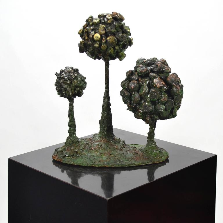 "Patinated James Bearden ""Pod Box"" Abstract Sculpture For Sale"