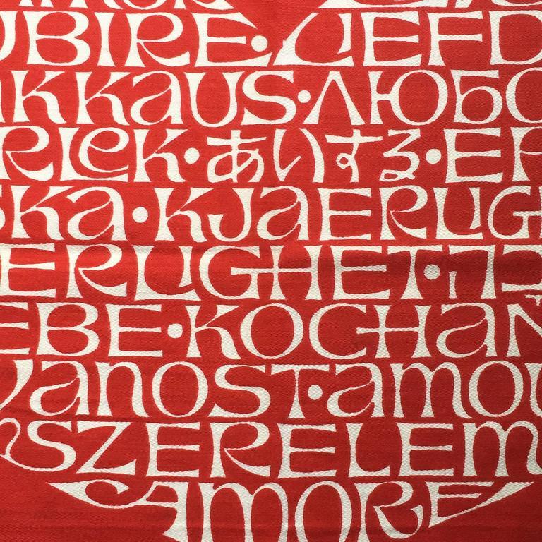 Mid-Century Modern Alexander Girard International Heart Textile For Sale