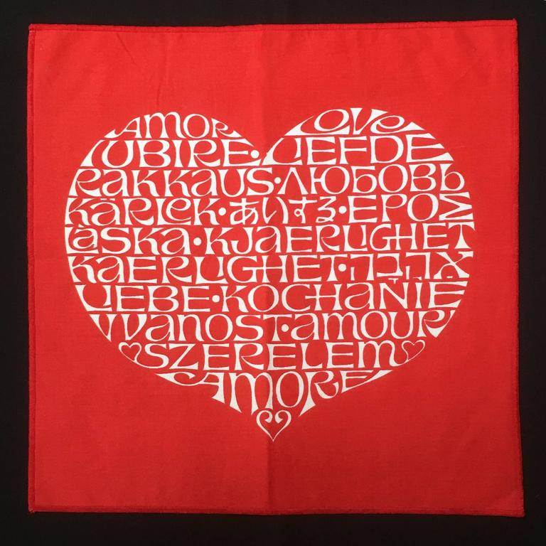 Alexander Girard International Heart Textile In Excellent Condition For Sale In Highland, IN