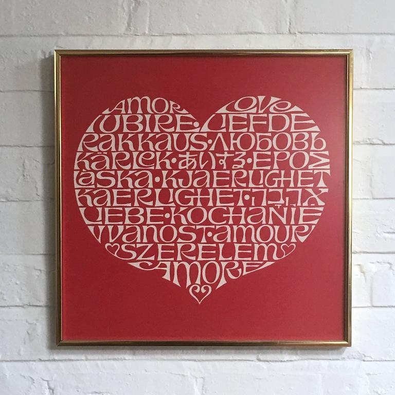 Mid-20th Century Alexander Girard International Heart Textile For Sale
