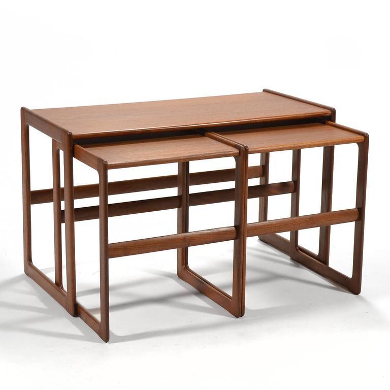 Scandinavian Modern Arne Hovmand-Olsen Set of Teak Nesting Tables by Mogens Koch For Sale