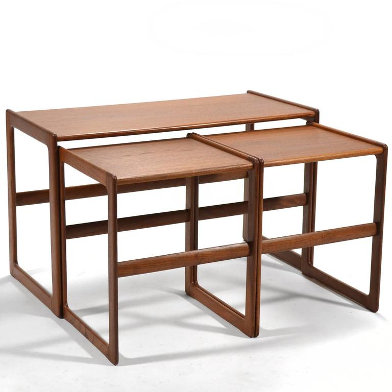 Danish Arne Hovmand-Olsen Set of Teak Nesting Tables by Mogens Koch For Sale