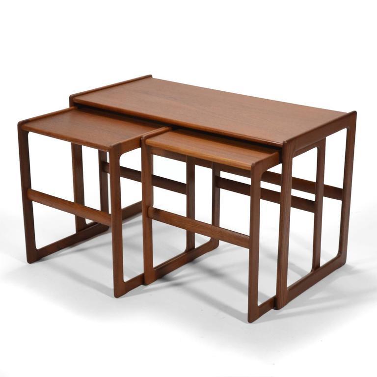 Arne Hovmand-Olsen Set of Teak Nesting Tables by Mogens Koch For Sale 2