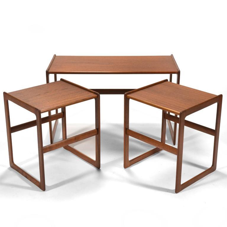 Arne Hovmand-Olsen Set of Teak Nesting Tables by Mogens Koch For Sale 4
