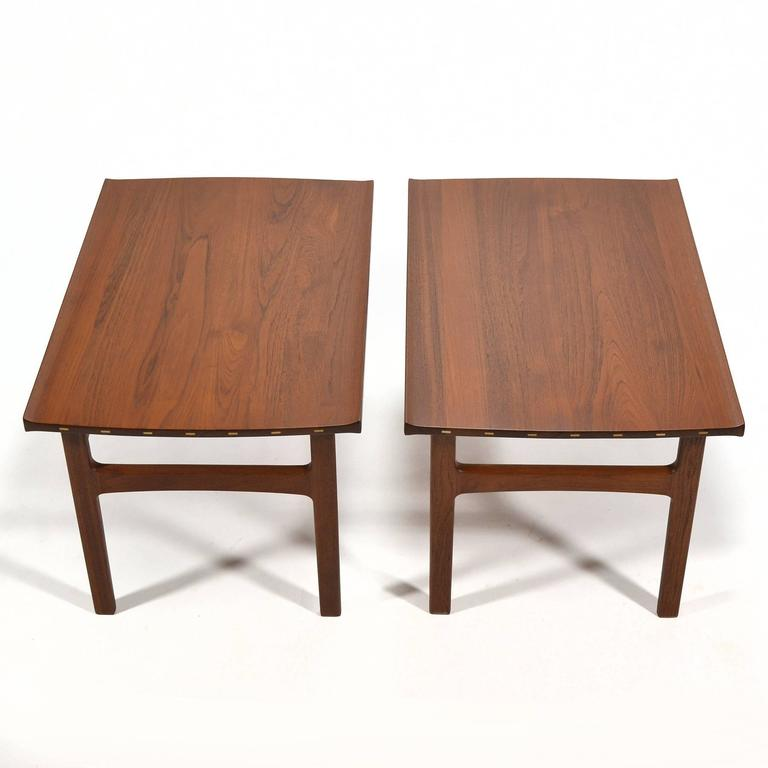 Scandinavian Modern Tove & Edvard Klindt-Larsen Pair of Solid Teak Side or End Tables For Sale