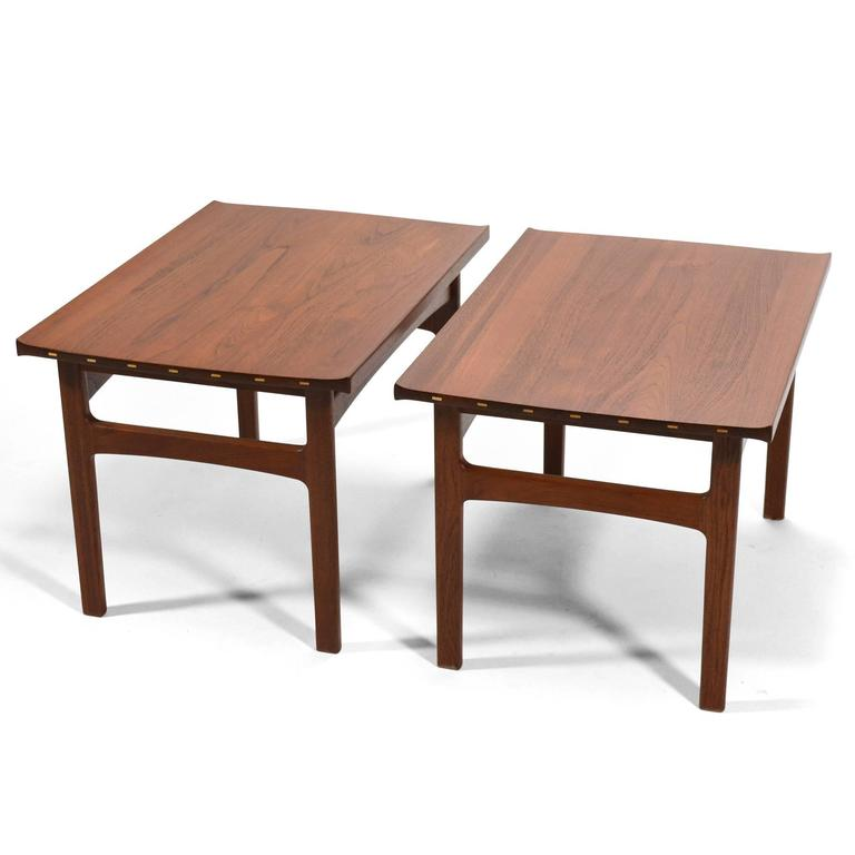 Swedish Tove & Edvard Klindt-Larsen Pair of Solid Teak Side or End Tables For Sale