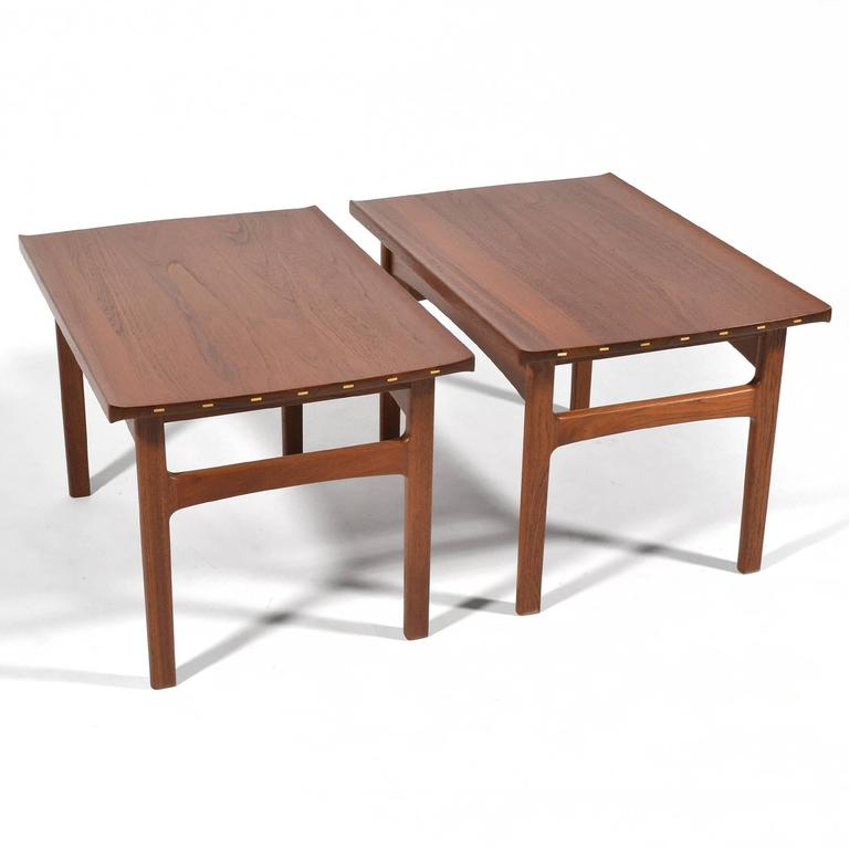 Tove & Edvard Klindt-Larsen Pair of Solid Teak Side or End Tables In Excellent Condition For Sale In Highland, IN