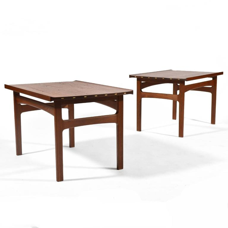 Mid-20th Century Tove & Edvard Klindt-Larsen Pair of Solid Teak Side or End Tables For Sale