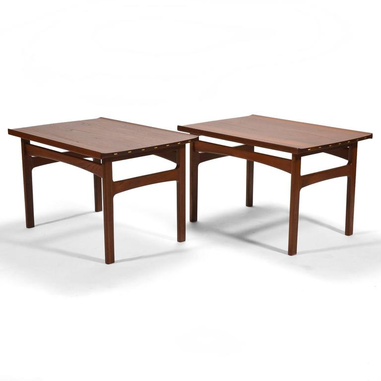 Tove & Edvard Klindt-Larsen Pair of Solid Teak Side or End Tables For Sale 1