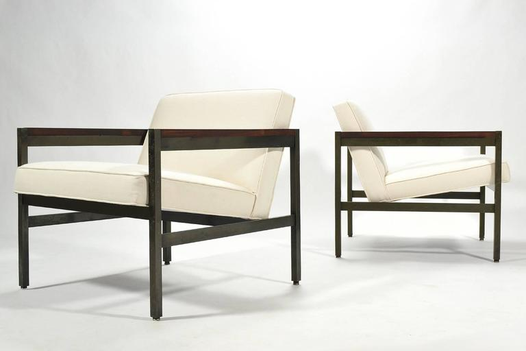 American Michael Taylor Pair of Bronze Framed Lounge Chairs by Baker For Sale