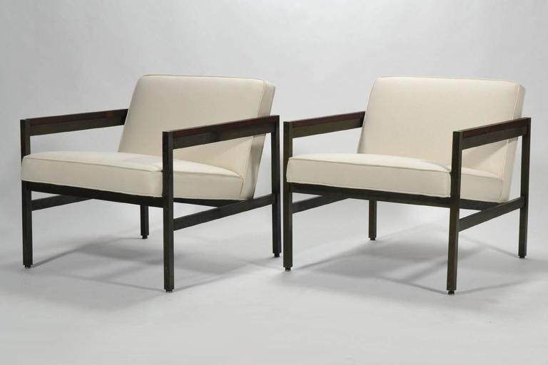 Michael Taylor Pair of Bronze Framed Lounge Chairs by Baker For Sale 1