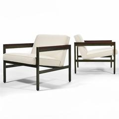Michael Taylor Pair of Bronze Framed Lounge Chairs by Baker