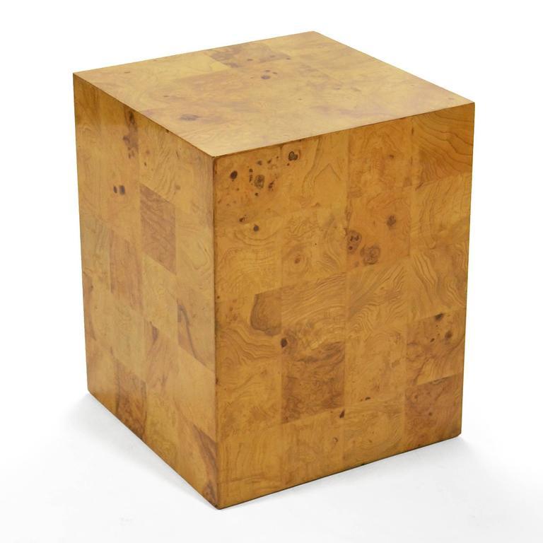 American Milo Baughman Burl Patchwork Pedestal/ End Table by Thayer Coggin For Sale