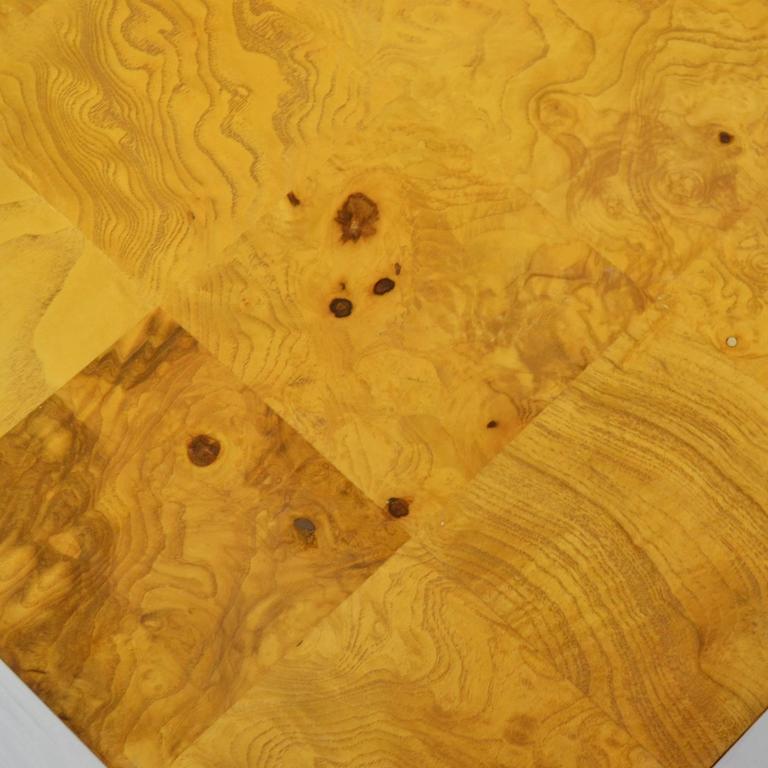 Milo Baughman Burl Patchwork Pedestal/ End Table by Thayer Coggin For Sale 1