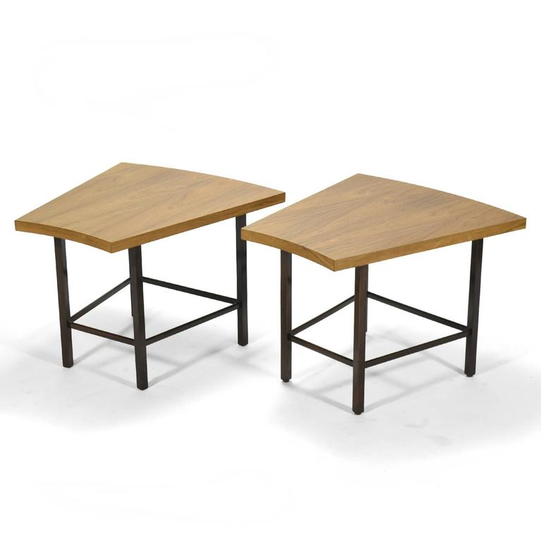American Harvey Probber Pair of Trapezoidal Side or End Tables For Sale
