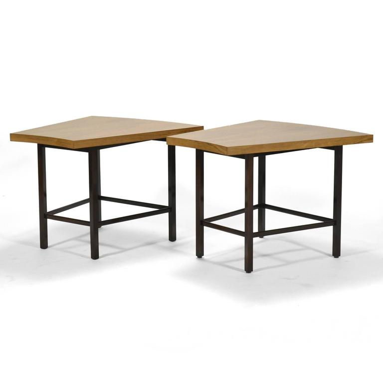 Harvey Probber Pair of Trapezoidal Side or End Tables In Good Condition For Sale In Highland, IN