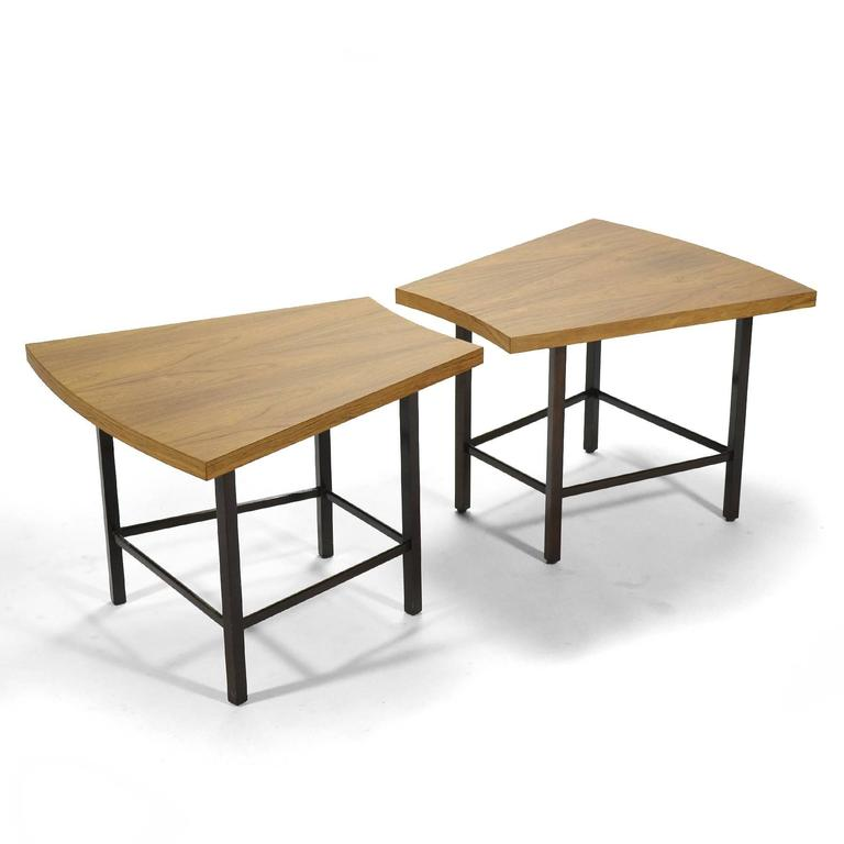 Mid-20th Century Harvey Probber Pair of Trapezoidal Side or End Tables For Sale