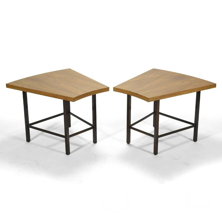 Rosewood Harvey Probber Pair of Trapezoidal Side or End Tables For Sale