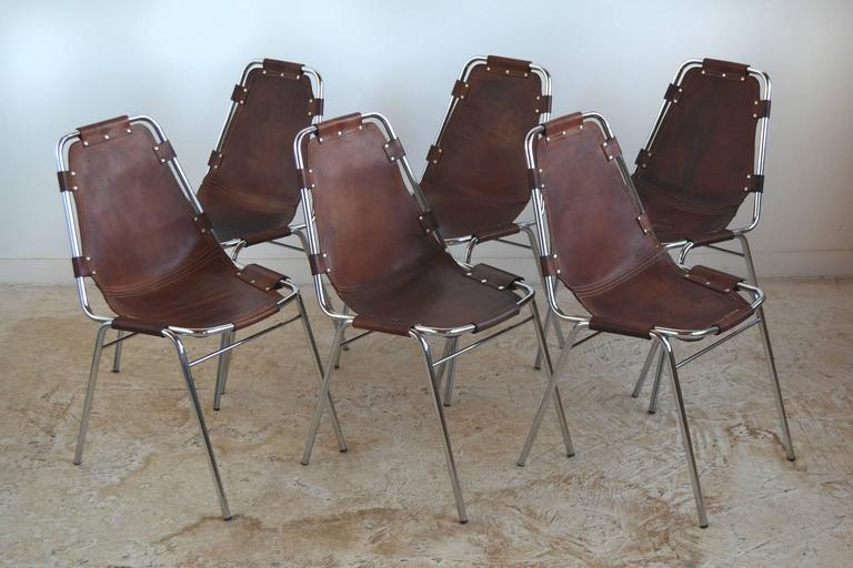 Set of Six Charlotte Perriand Les Arcs Chairs For Sale 2
