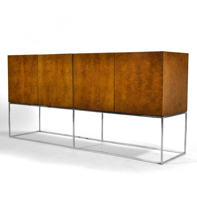 Plated Milo Baughman Olive Ash Burl Credenza by Thayer Coggin For Sale