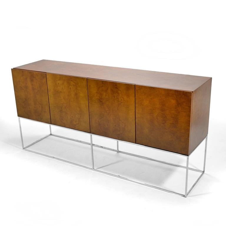 Late 20th Century Milo Baughman Olive Ash Burl Credenza by Thayer Coggin For Sale