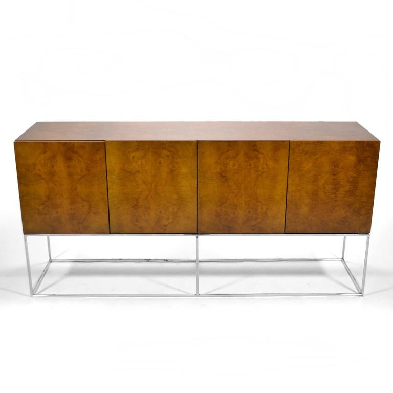 Milo Baughman Olive Ash Burl Credenza by Thayer Coggin For Sale 1