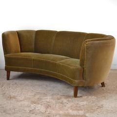 Swedish 1940s Curved Velvet Sofa