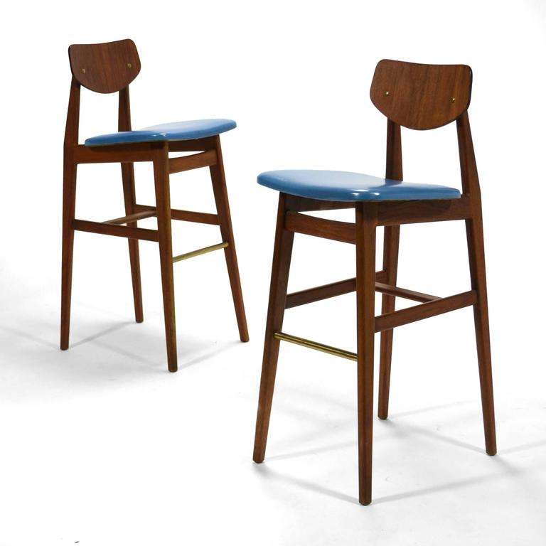 Jens Risom Pair Of Rare Bar Stools For Sale At 1stdibs