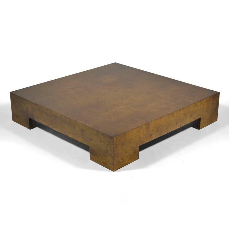 Milo Baughman Olive Ash Burl Coffee Table At 1stdibs