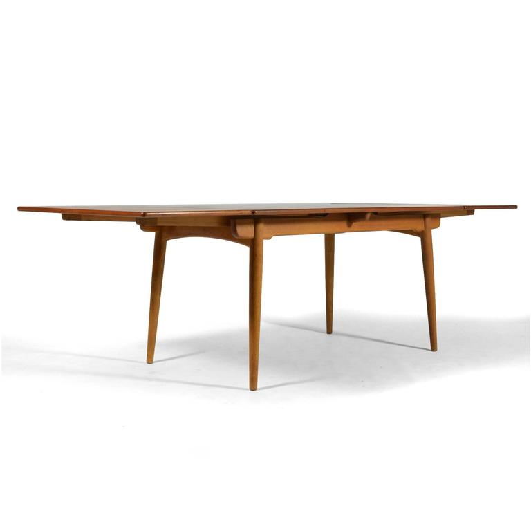 Oak Hans Wegner AT312 Draw-Leaf Dining Table by Andreas Tuck For Sale