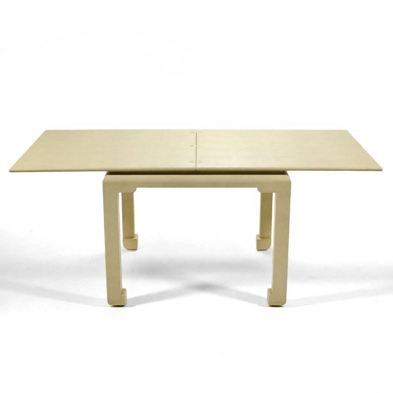 Leather Karl Springer Flip-Top Game / Dining Table For Sale
