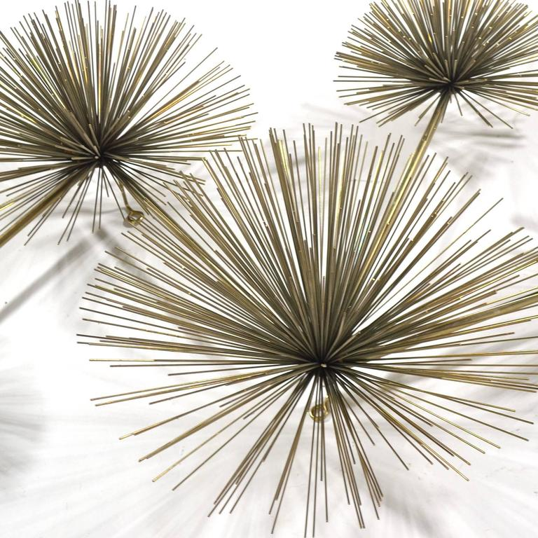 Brass Curtis Jere Five-Burst Wall Sculpture For Sale