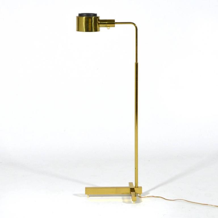 Casella Adjustable Pharmacy Floor Lamp In Brass At 1stdibs