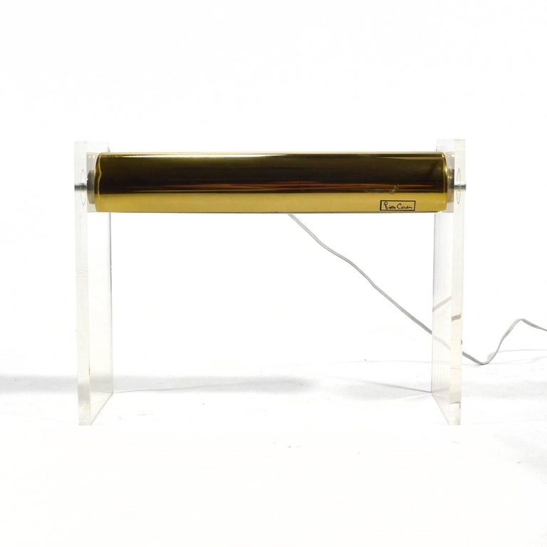 Mid-Century Modern Pierre Cardin Lucite and Brass Desk Lamp For Sale