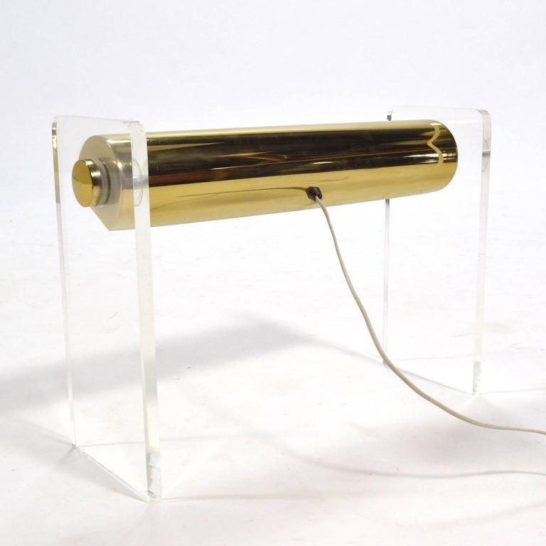 Pierre Cardin Lucite and Brass Desk Lamp For Sale 1