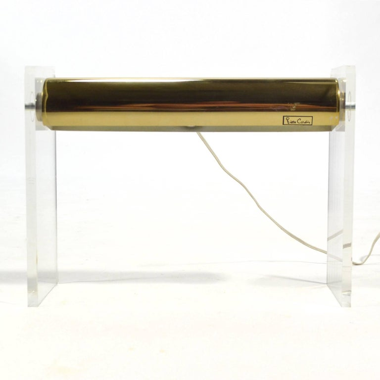 Pierre Cardin Lucite and Brass Desk Lamp For Sale 2
