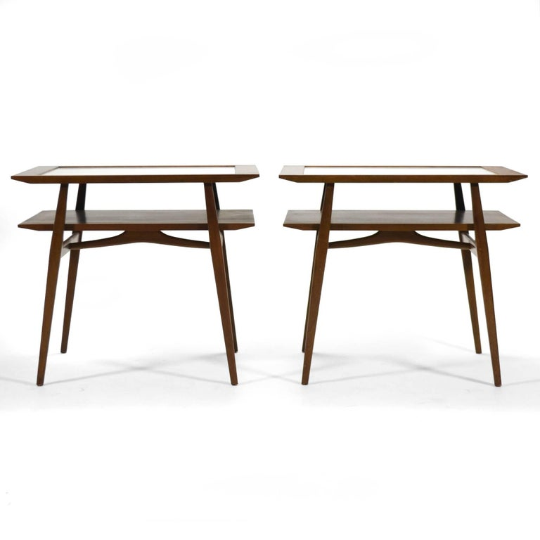 Mid-Century Modern Bertha Schaefer Pair of End Tables by Singer & Sons For Sale