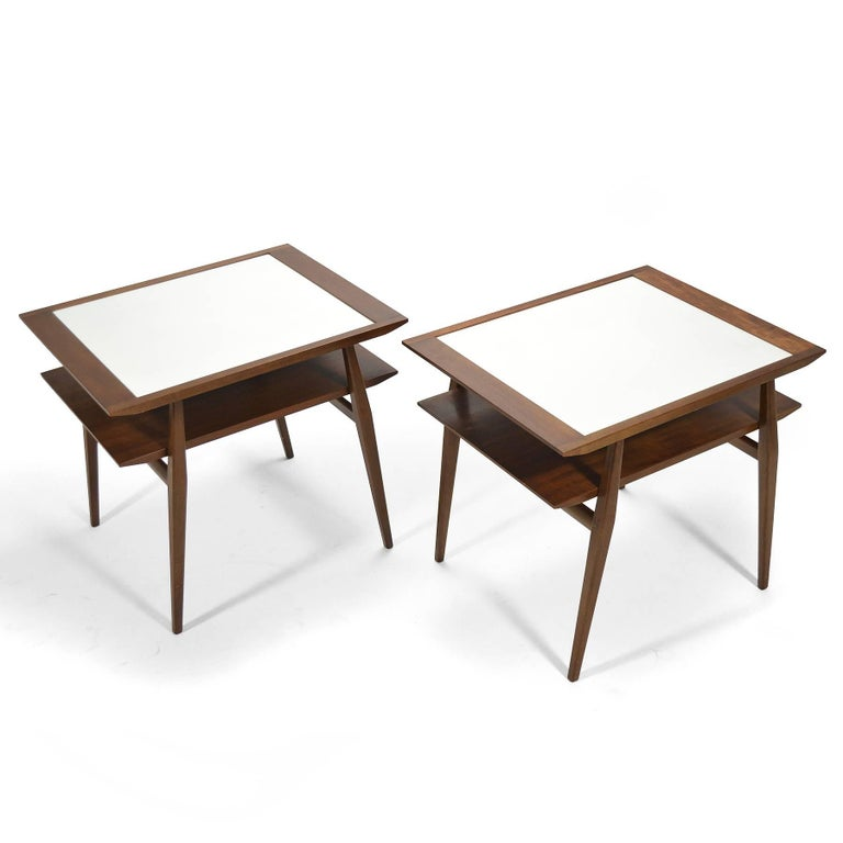 American Bertha Schaefer Pair of End Tables by Singer & Sons For Sale