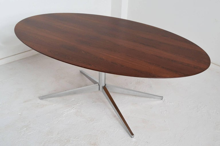 American Florence Knoll Rosewood Elliptical Dining or Conference Table For Sale