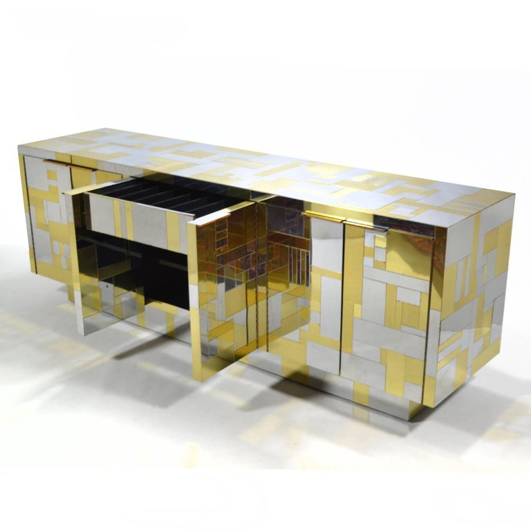 Plated Paul Evans Cityscape Credenza For Sale