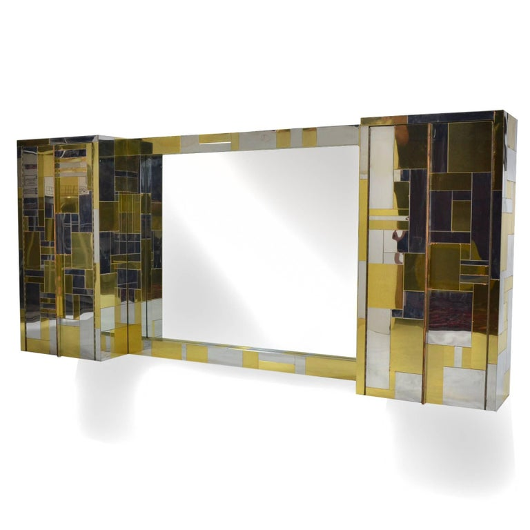Plated Paul Evans Cityscape Mirror For Sale