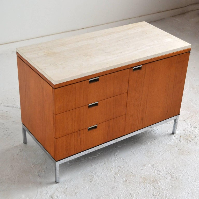 Florence Knoll Teak Credenzas with Travertine Tops 2