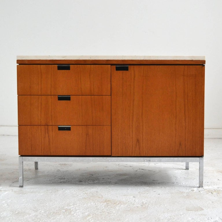 Mid-Century Modern Florence Knoll Teak Credenzas with Travertine Tops For Sale